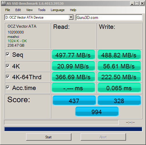 Nov '12 AS SSD Benchmark Speed Test
