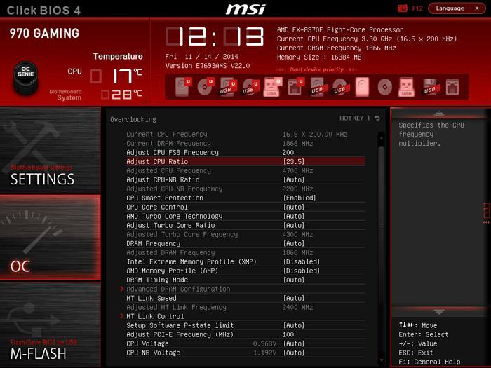 MSI 970 Gaming motherboard review - The UEFI BIOS