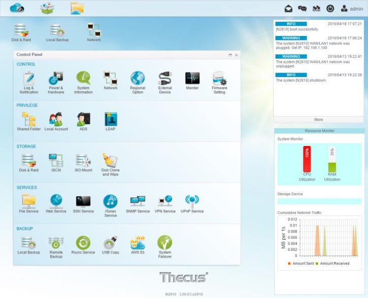 Thecus N2810 NAS review - User groups and shares