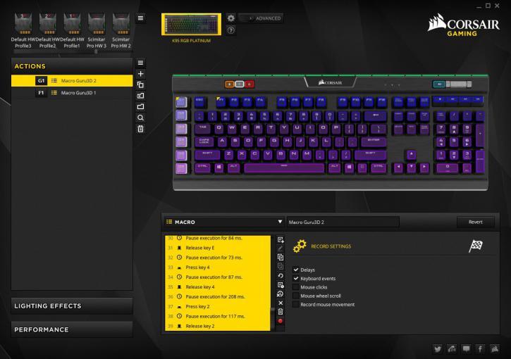 Corsair Gaming K95 RGB PLATINUM review - CUE Application