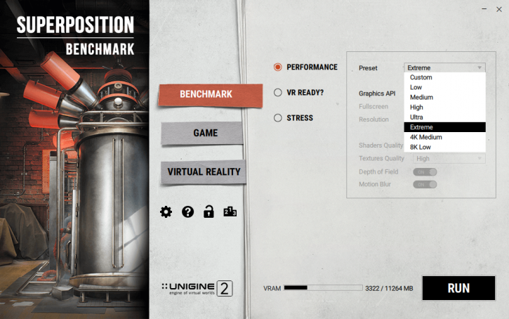 Unigine Superposition performance benchmarks - Graphics card