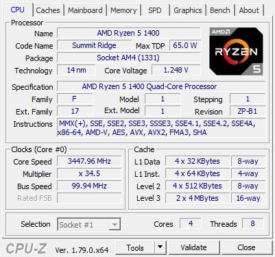 Amd Ryzen 5 1400 Review Cpu Z Screenshots System