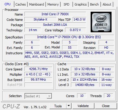 Intel Core I9 7900x Processor Review Cpu Z Screenshots
