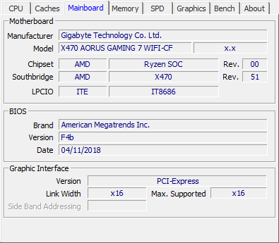 Gigabyte Aorus X470 Gaming 7 Wifi review - CPU-Z Screenshots & System