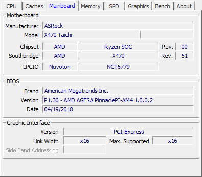 ASRock X470 Taichi review - CPU-Z Screenshots & System