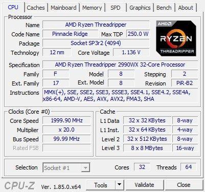 MSI MEG X399 Creation review - CPU-Z Screenshots
