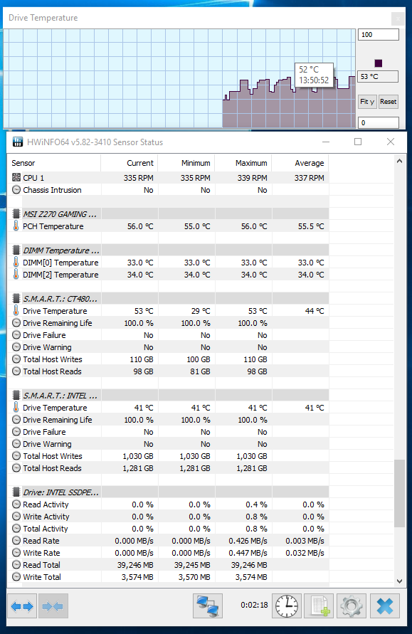 Crucial BX500 480 GB SSD review - SSD Operating Temperatures