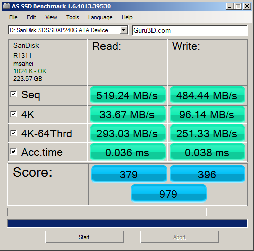 Jun '13 AS SSD Benchmark Speed Test Result
