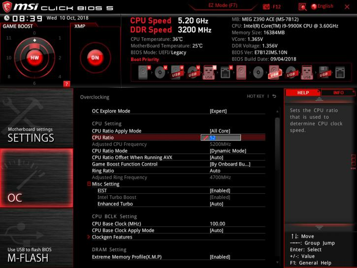 MSI MPG Z390 Gaming Pro Carbon review - Overclocking