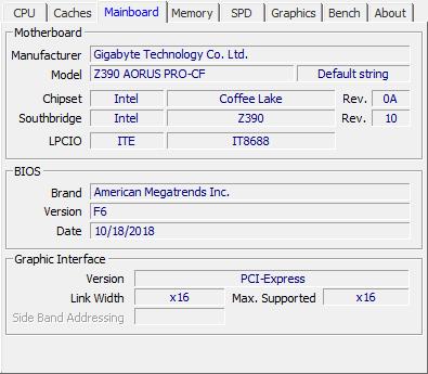 Gigabyte Z390 AORUS Pro review - CPU-Z Screenshots