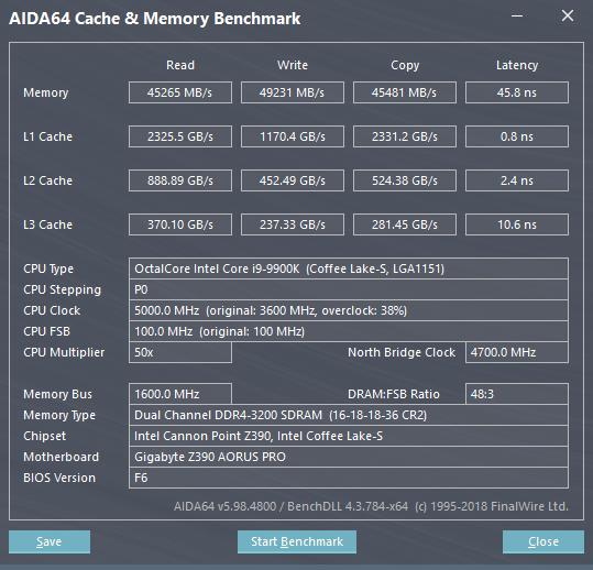 Gigabyte Z390 AORUS Pro review - Benchmarks: Memory