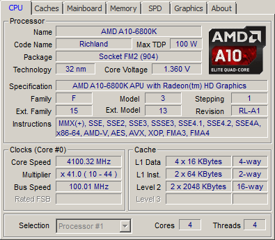 AMD A10 6800K review - CPU-Z Screenshots and System