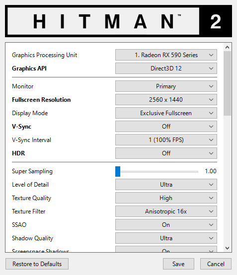 Hitman 2: PC graphics DX12 (v2 20) performance update - DirectX 12