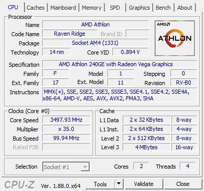 AMD Athlon 220GE and 240GE review - CPU-Z Screenshots