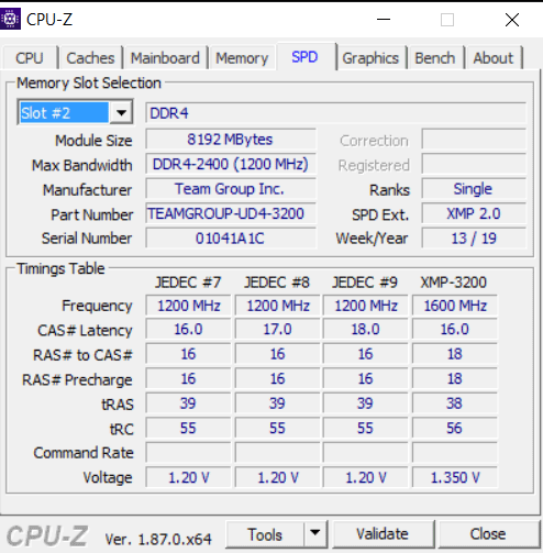 Team Group Vulcan Z DDR4 3200 MHz 2x 8GB review - CPU-Z