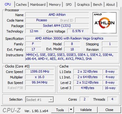 Amd Athlon 3000g Review Cpu Z Screenshots