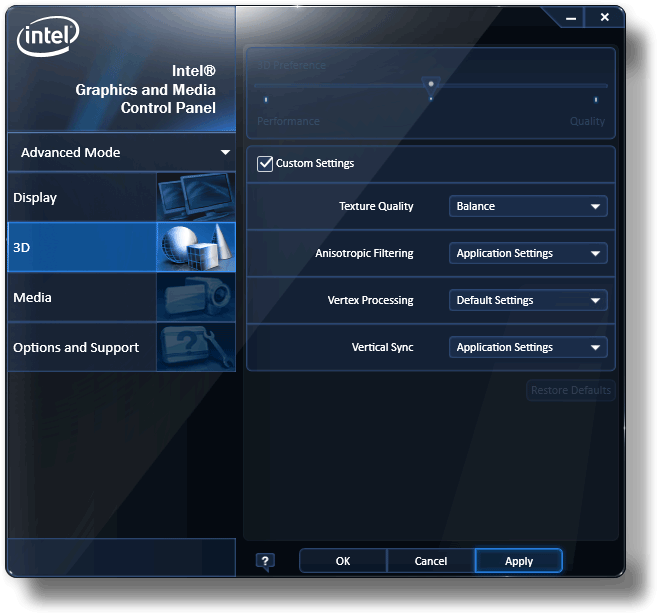 Setting intel internal hd graphic memory via bios and driver for.
