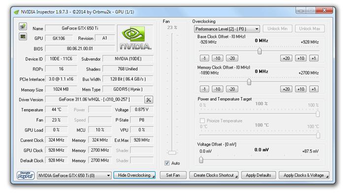 NVIDIA Inspector (NVidia) Index