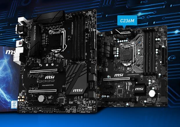 MSI C236A WORKSTATION and C236M WORKSTATION motherboards for XEON