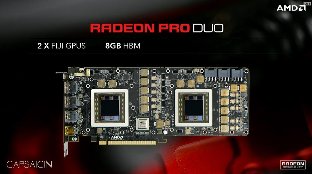 AMD Radeon Pro Duo (Dual Fiji GPUs) Announced + Initial Perf Numbers