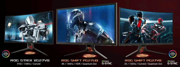 ASUS ROG HDR Quantum Dot Monitors STRIX XG27VQ, SWIFT PG27VQ