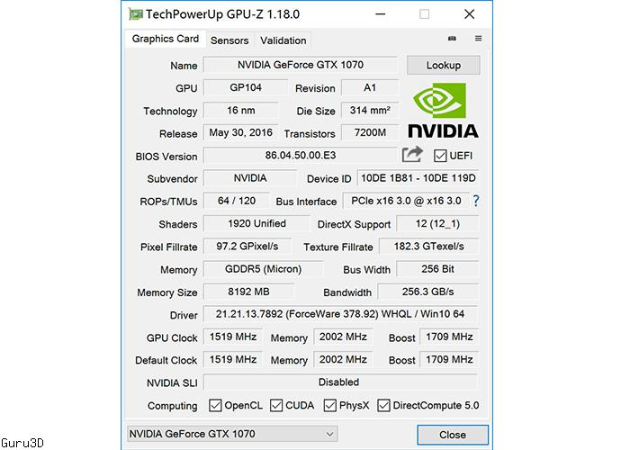 Single-slot GALAX GeForce GTX 1070 KATANA