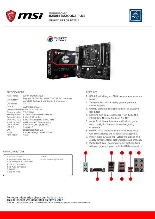 MSI Launches B250M Bazooka PLUS Motherboard