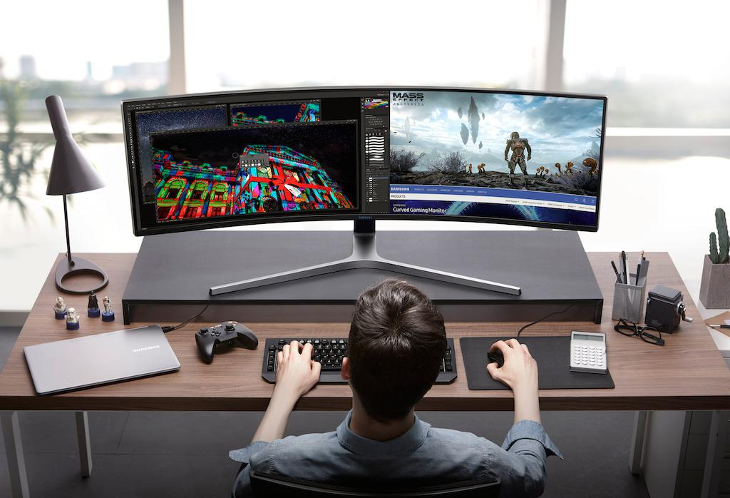 Samsung C49HG90 QLED monitor is 49inch curved at 32:9 aspect