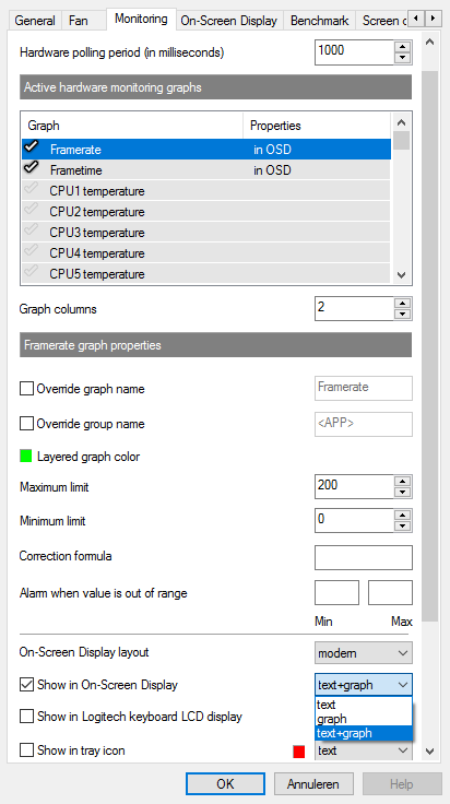 how to show on screen dispaly for msi afterburner