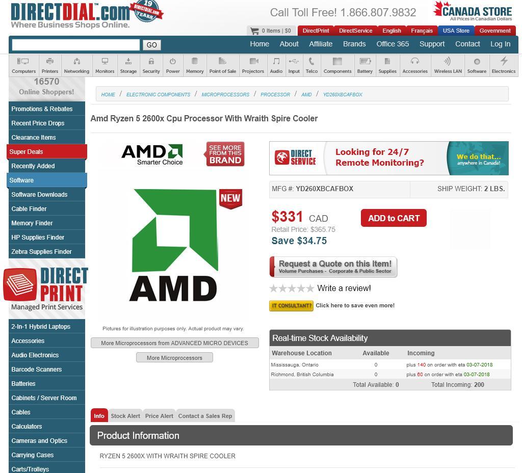 AMD Ryzen 5 2600X Got Shortly Listed on Amazon - Available