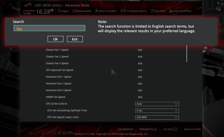 ASUS adds RGB Disable Switch and search function to ROG motherboard BIOS