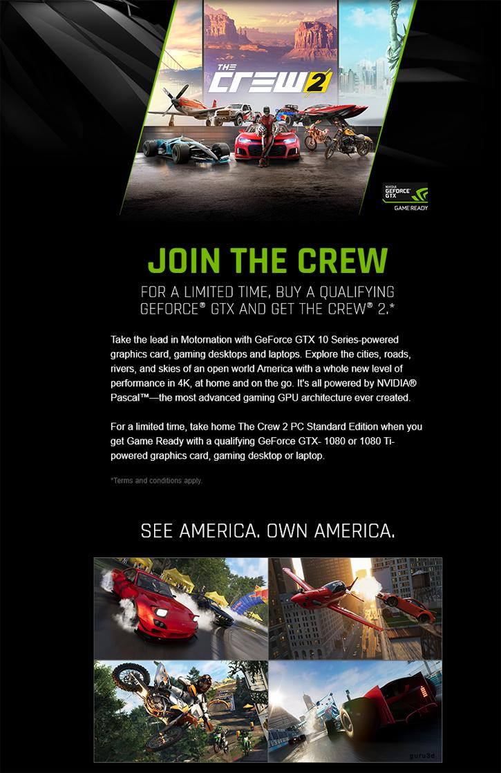 Nvidia Will Bundle the Crew 2 With Select 1080 cards
