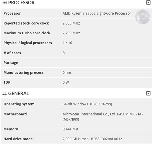 Energy Friendly AMD Ryzen 7 2700E spotted: 8-cores and 45 watts TDP