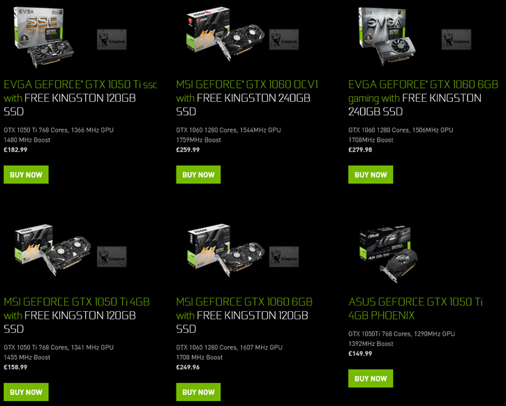 NVIDIA Gives Kingston SSD with the purchase of a 1050 or