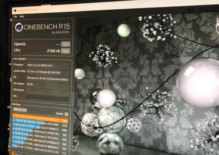 Intel Core i9-9900K 5GHz with Cinebench R15 test