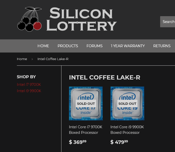 Silicon Lottery has listed prices for Core i9-9900K and i7