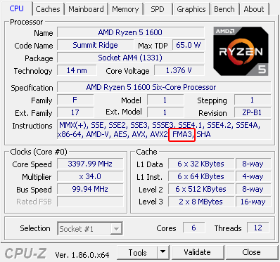 FMA4 instruction set hidden, but is working on AMD Zen