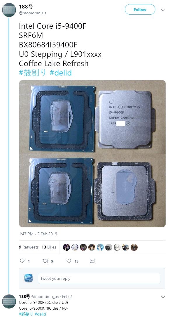 Intel Core i5-9400F Processor Back to Thermal Paste, no