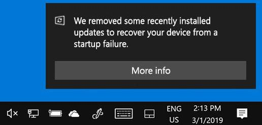 Windows 10 will automatically uninstall updates that cause problems