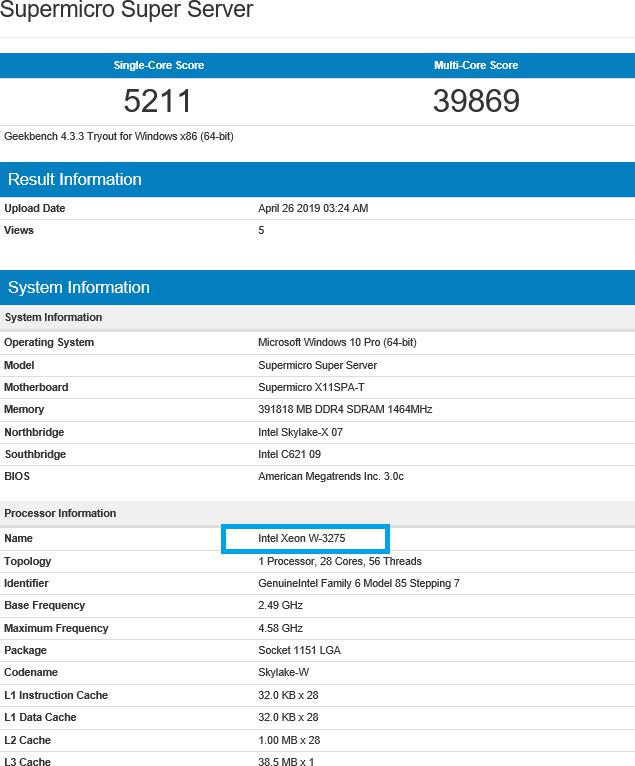 Intel Xeon W-3275 with 28 cores spotted in Geekbench