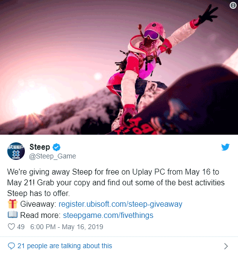 Free to grab: Steep On uPlay