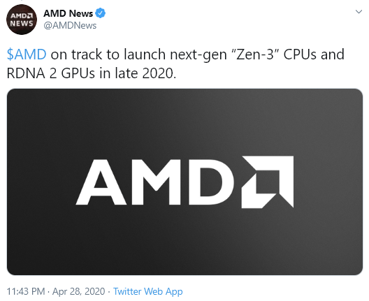 Amd Confirms Zen3 And Rdna2 By Late 2020 On Twitter