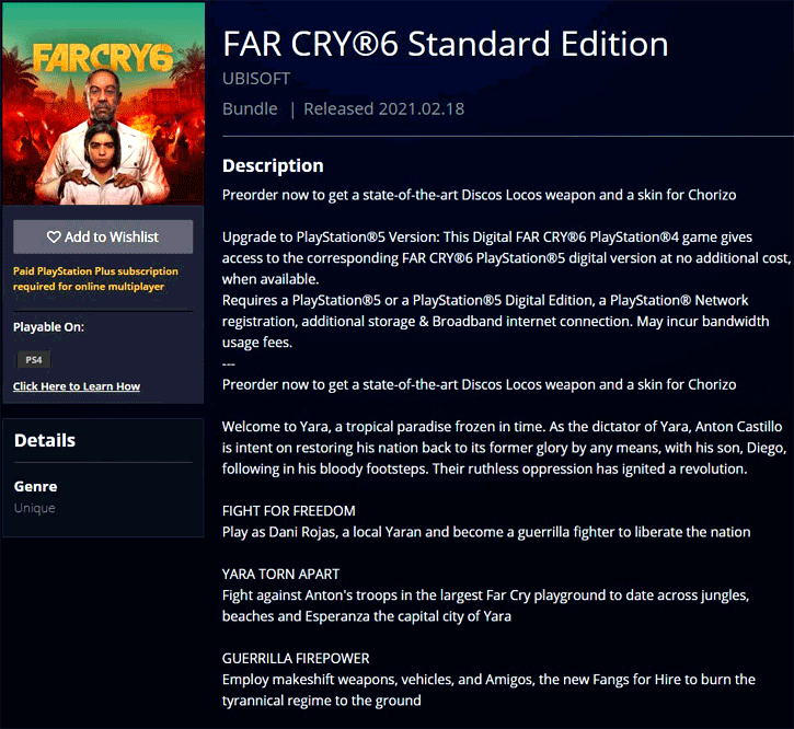 Far Cry 6 Product Page Surfaces Welcome To Latin America