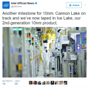 Intel announces Cannon Lake on track & Ice Lake has taped in