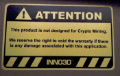 Inno3D Warns that mining can break Warranty on their GPUs