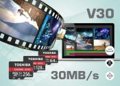 Toshiba announces Video Speed Class 30 (V30) EXCERIA microSDXC cards