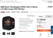 AMD Ryzen Threadripper 2990X with 32 cores gets listed for 1509 euros in webshop