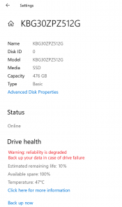 Windows 10 will monitor NVMe SSDs and warn you in case of pending failures