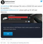 Modern Warfare no longer fits on a 250GB SSD