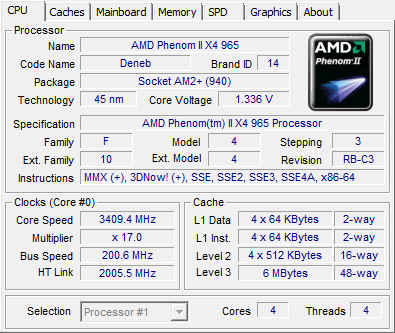 Phenom II X4 965 BE revision C3 review - CPU-Z Screenshots